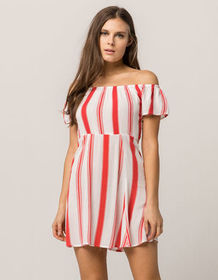 MIMI CHICA Stripe Off The Shoulder Dress_