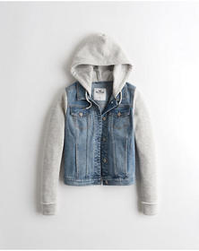 Hollister Hooded Denim Jacket, MEDIUM WASH