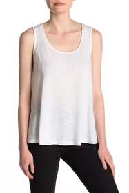 DKNY Metallic Topstitch Linen Blend Tank
