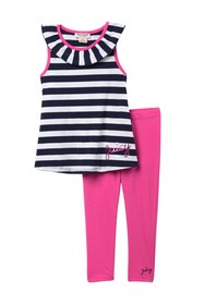 Juicy Couture Stripe Top & Legging Set (Little Gir