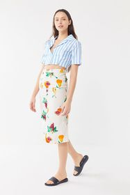 UO Welcome To Miami Printed Linen Midi Skirt