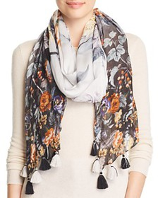 Echo - Tasseled Floral Oblong Scarf