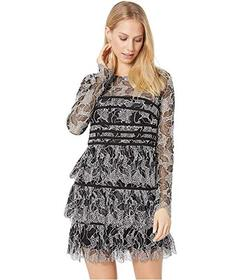 Halston Long Sleeve Lace Dress with Strapping Deta