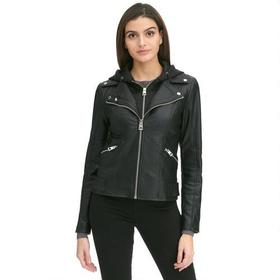 Designer Brand Hooded Stretch Faux-Leather Jacket