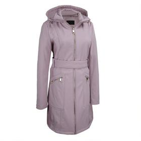 Designer Brand Belted Soft Shell Hooded Jacket