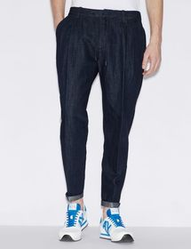 Armani DENIM TROUSERS IN LINEN AND COTTON