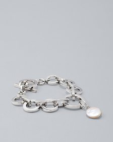 Freshwater Pearl Coin Toggle Bracelet