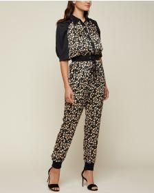 Juicy Couture Soft Focus Floral Hammered Silk Jump