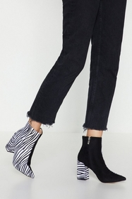 Nasty Gal You're in the Two-Tone Zebra Heeled Boot