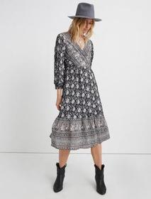 Lucky Brand Paisley Border Print Wrap Dress