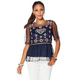 Curations Embroidered Mesh Peplum Top