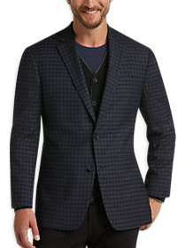 Awearness Kenneth Cole Blue Check Slim Fit Sport C