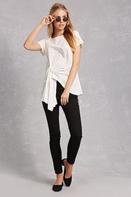 Forever21 Gathered Hem Asymmetrical Tee