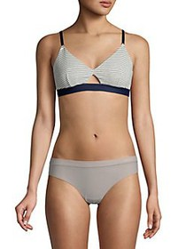 French Connection Striped Cutout Bralette BLUE STR