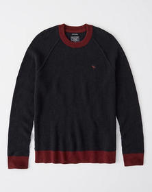 Cashmere Colorblock Waffle Sweater, NAVY BLUE