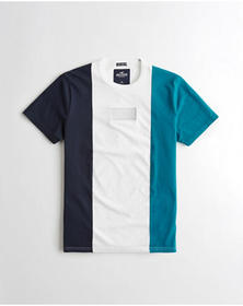 Hollister Embroidered Logo Graphic Tee, NAVY WHITE
