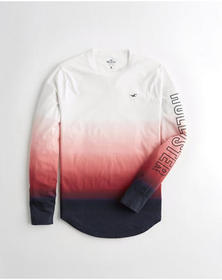 Hollister Ombré Graphic Tee, WHITE TO RED TO NAVY