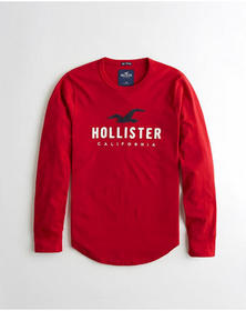 Hollister Applique Logo Graphic Tee, RED