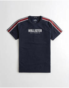 Hollister Sleeve Stripe Graphic Tee, NAVY