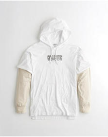 Hollister Layered Hooded Graphic Tee, WHITE
