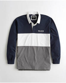 Hollister Colorblock Rugby Polo, NAVY WHITE AND GR