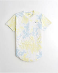 Hollister Tie-Dye Curved Hem T-Shirt, BLUE AND YEL