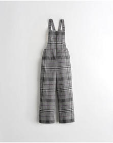 Hollister Zip-Front Knit Overalls, PURPLE PLAID