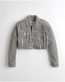 Hollister Ultra Crop Denim Jacket, BLACK STRIPE