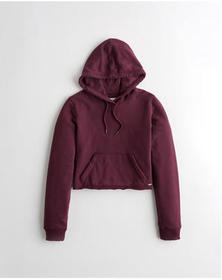 Hollister French Terry Crop Hoodie, PURPLE