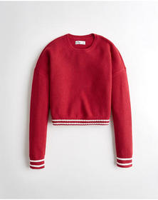 Hollister Tipped Crewneck Sweater, RED