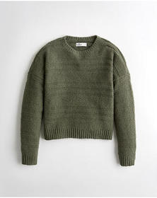Hollister Textured Terry Sweater, OLIVE