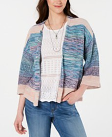 Style & Co Cotton Space-Dyed Cardigan, Created for
