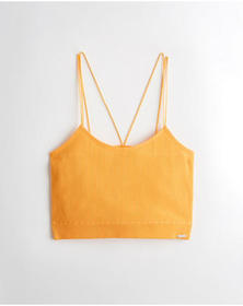 Hollister Lace-Back Seamless Crop Cami, YELLOW