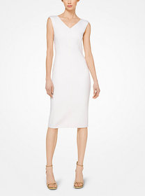 Michael Kors Stretch-Bouclé V-Neck Sheath Dress