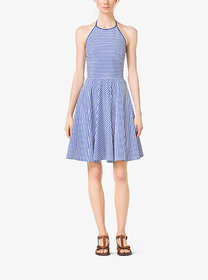 Michael Kors Striped Cotton-Poplin Halter Dress