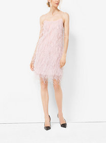 Michael Kors Ostrich Feather-Embroidered Chantilly