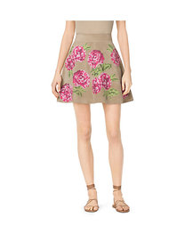 Michael Kors Floral-Embroidered Suede Skirt