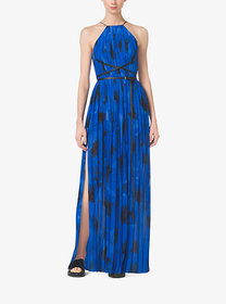 Michael Kors Poppy-Print Pleated Silk-Georgette Co