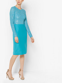 Michael Kors Embroidered Stretch Silk-Crepe Sheath