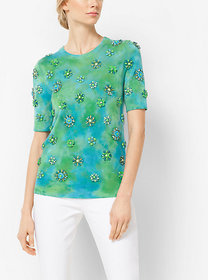 Michael Kors Brooch-Embroidered Cashmere Short-Sle