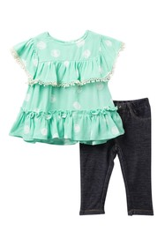 Jessica Simpson Dot Top & Jeggings Set (Baby Girls