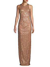 Galvan Miraflores Sequined Gown COPPER