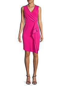 Donna Karan Faux Wrap Sheath Dress WATERMELON