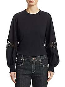 Chloé Lace-Inset Long-Sleeve Tee BLACK