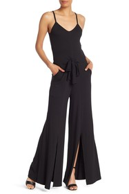 Go Couture Sleeveless Tie Front Slit Leg Jumpsuit