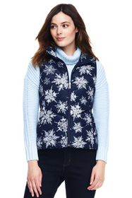 Lands End Women's Print Down Puffer Vest