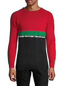 RNT23 Colorblock Cotton Blend Sweater BLACK RED