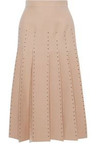 VALENTINO Tulle-trimmed pleated wool and silk-blen