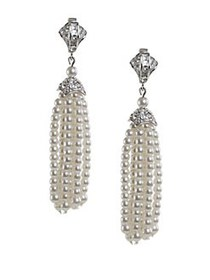 Kenneth Jay Lane Faux Pearl Drop Tassel Earrings S