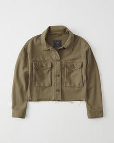 Cropped Military Jacket, OLIVE GREEN